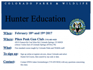 Hunter Safety Course at Pikes Peak Gun Club